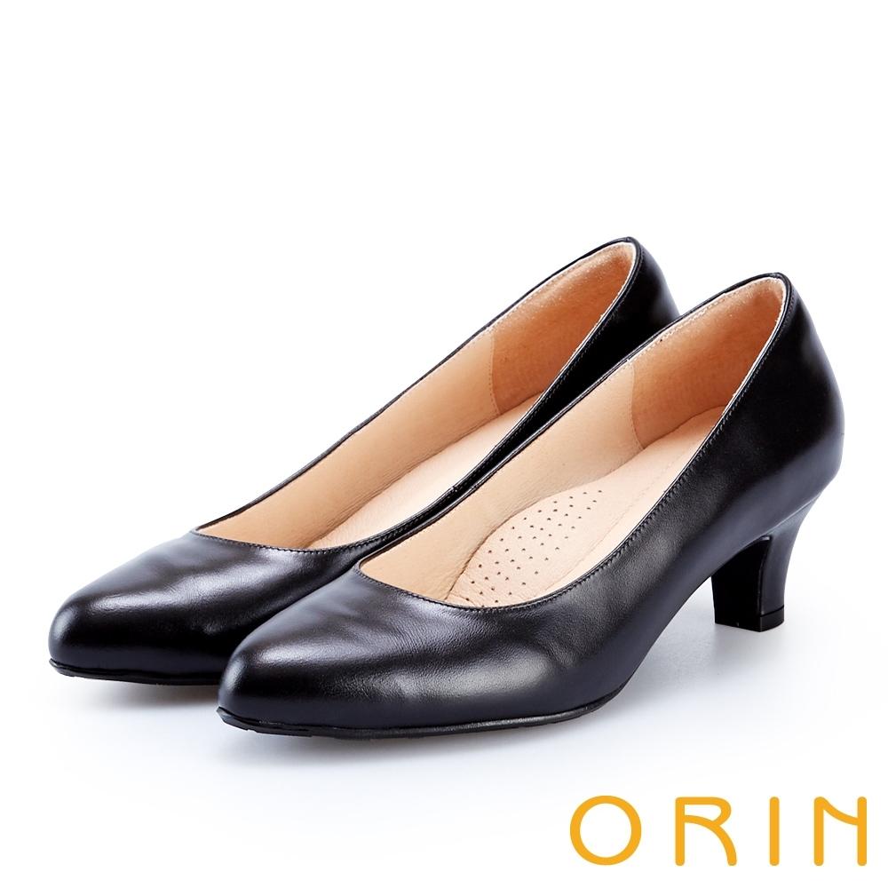 ORIN 簡約時尚OL 質感牛皮百搭素面中跟鞋-黑色