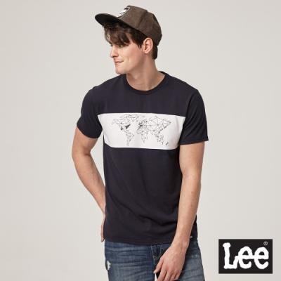 Lee短袖T恤 幾何世界地圖拼接 丈青 男款