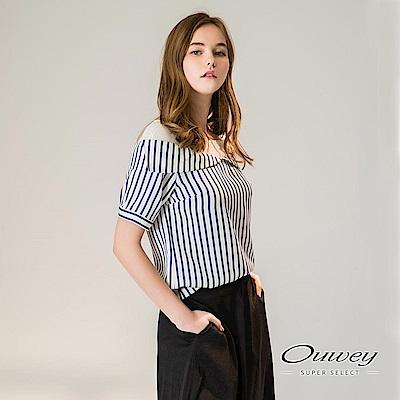 OUWEY歐薇 透膚造型拼接條紋寬版上衣(藍)