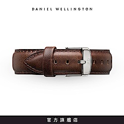 DW 錶帶 20mm銀扣 深棕真皮皮革錶帶