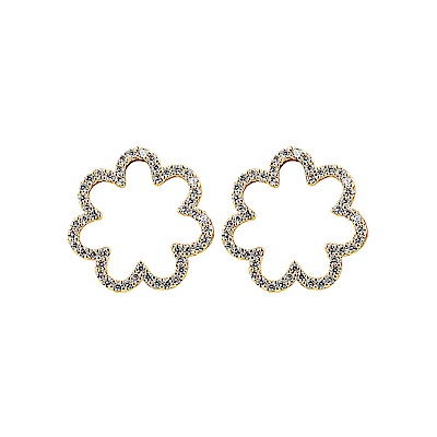 kate spade經典雲朵設計鑽鑲飾穿式耳環(金)