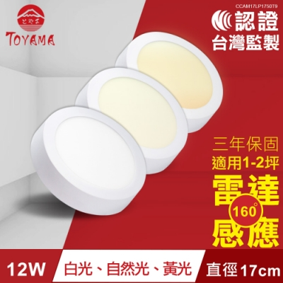 TOYAMA特亞馬12W超薄LED雷達微波感應吸頂燈全暗全亮型 白光、黃光、自然光