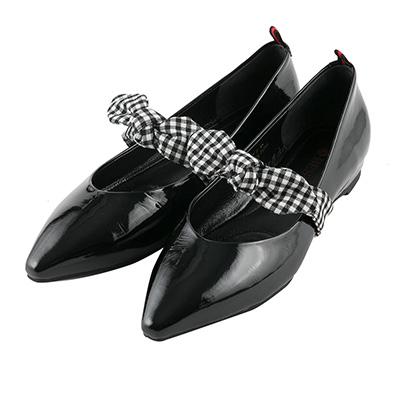 BESO好感女孩 格紋蝴蝶結平底鞋~黑