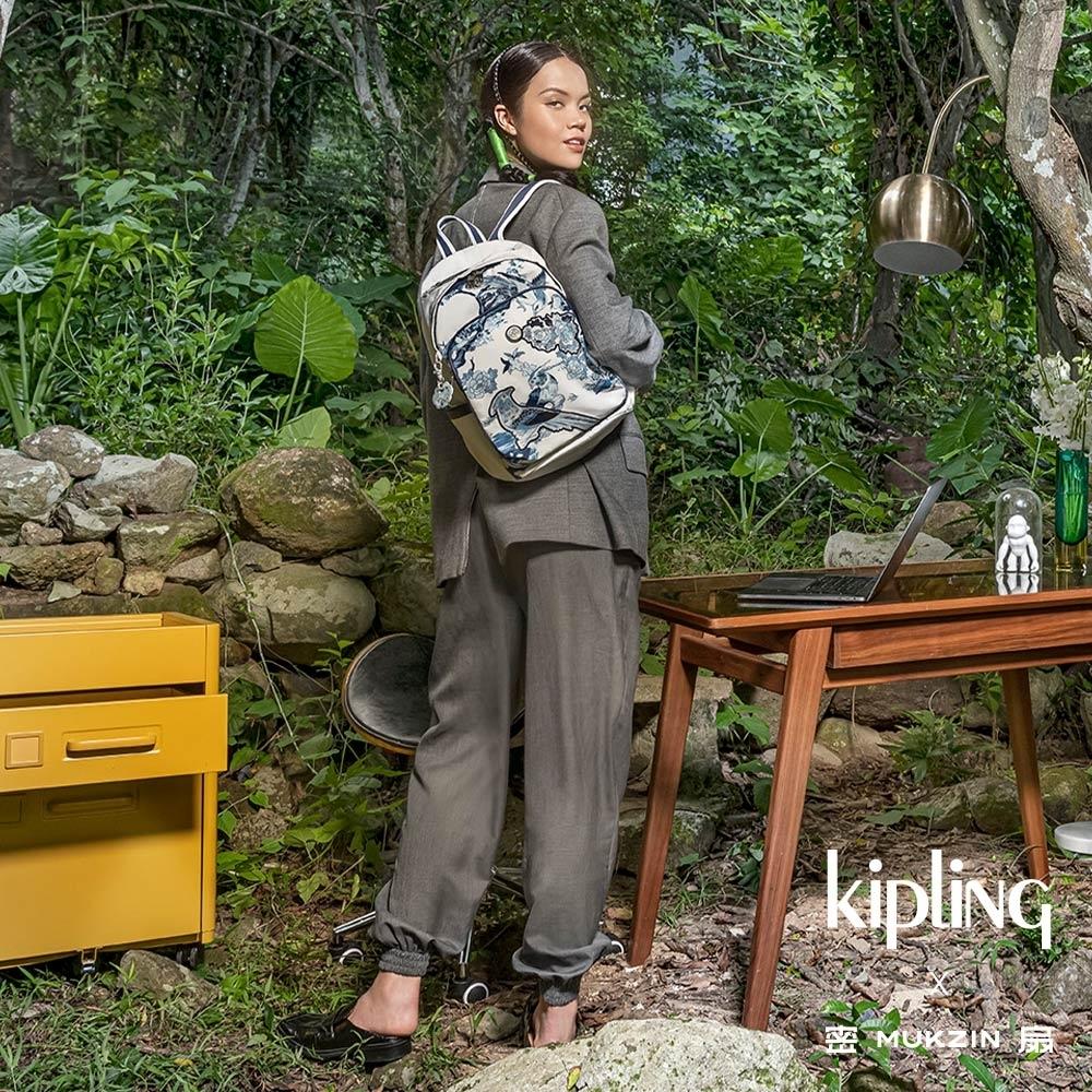 Kipling X MUKZIN 密扇聯名系列花鳥尋仙-皎月白色上方拉鍊後背包-DELIA