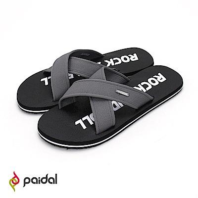 Paidal搖滾萬歲交叉織帶舒適涼拖鞋-黑