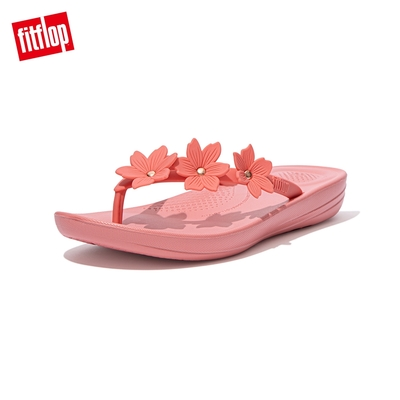 【FitFlop】IQUSHION PEARLISED FLOWER FLIP-FLOPS 花飾輕量人體工學戲水夾腳拖-女(柔和粉)