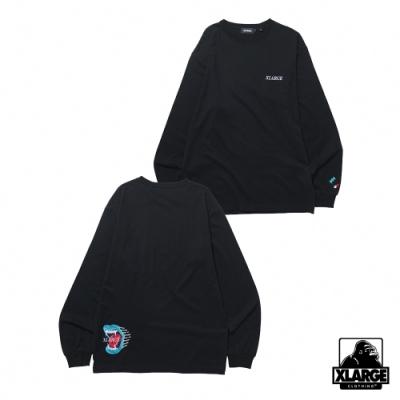 XLARGE ADDICT LOGO EMBROIDERY L/S TEE長袖T恤-黑