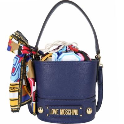 LOVE MOSCHINO 繽紛印花絲巾束口水桶包(海軍藍)