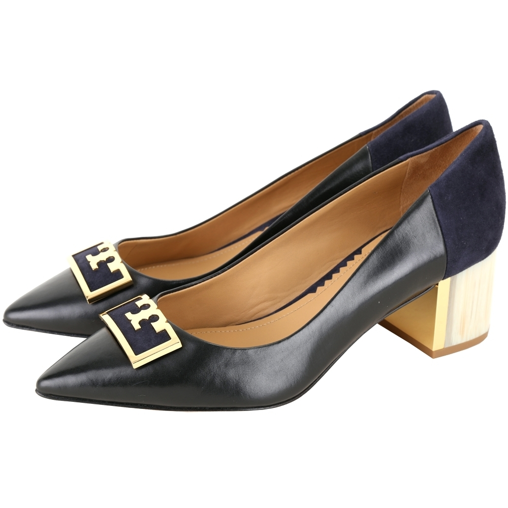 TORY BURCH Gigi T字麂皮拼接尖頭粗跟鞋(黑藍色/5.5cm)