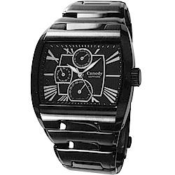 Canody 羅馬時尚三眼日期手錶(CG9806-A)-黑/41mm