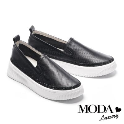 休閒鞋 MODA Luxury 百搭舒適璀璨水鑽全真皮厚底休閒鞋-黑