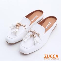 ZUCCA-亮面皮流蘇金屬拖鞋-白-z6321we
