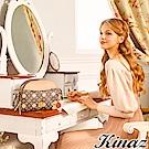 KINAZ 瑩白花朵斜背貝殼包-蘋果花系列