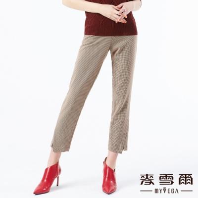 【麥雪爾】英式細格紋立體剪裁九分褲