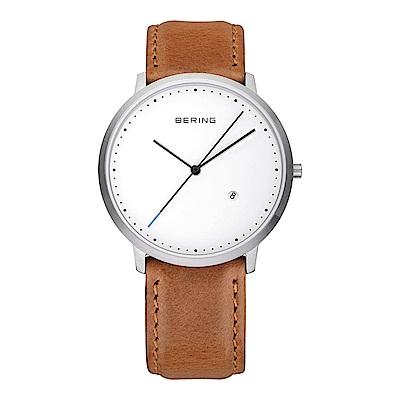 BERING-創意長秒針系列 藍寶石鏡面 棕色皮革白錶盤39mm