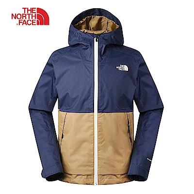 The North Face北面男款藍卡其撞色防風防水衝鋒衣|3VPK1WU