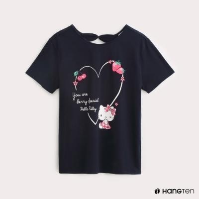 Hang Ten-Sanrio-女裝Hello Kitty心型印花T恤-藍