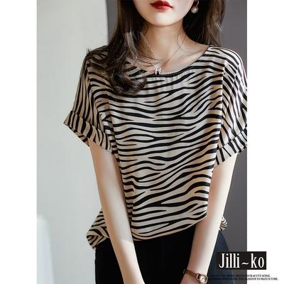 JILLI-KO 斑馬紋印花絲質小衫- 黑色