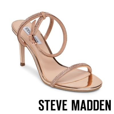 STEVE MADDEN-JELINA 水鑽金屬感細帶繞踝交叉涼鞋-金色