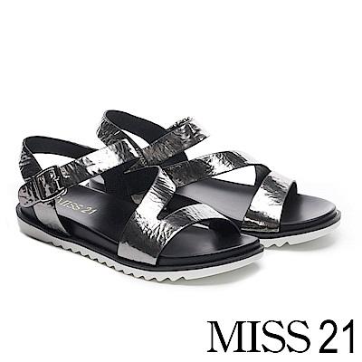 涼鞋 MISS 21 個性休閒俐落剪裁寬繫帶牛皮厚底涼鞋-銀