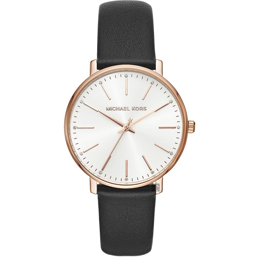 Michael Kors Pyper 紐約時尚手錶(MK2834)-黑x玫塊金框/38mm