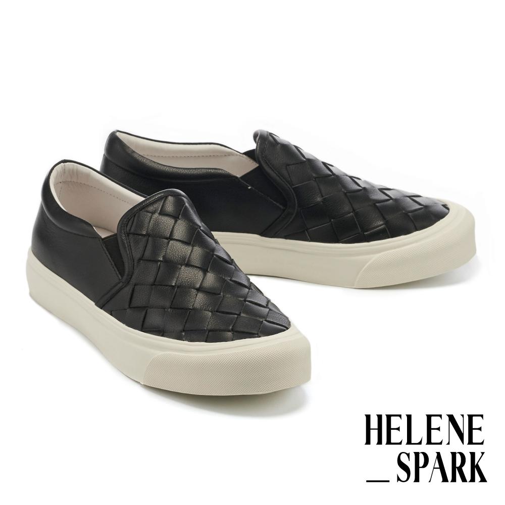 休閒鞋 HELENE SPARK 率性日常全真皮編織厚底休閒鞋-黑