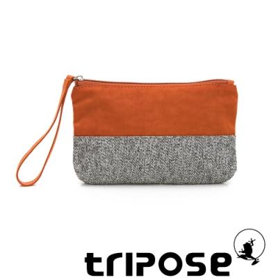 tripose漫遊系列岩紋x微皺尼龍多功能手拎袋(大)橘色