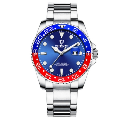 Mirabelle至尊顯時 雙色數字不鏽鋼男錶 銀帶紅藍面  42mm