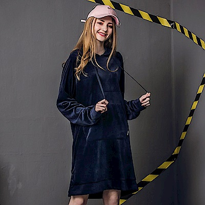 DADA SUPREME 絲絨長版連帽上衣-女-深藍