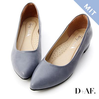 D+AF 百搭印象.MIT素面微尖頭低跟鞋*紫