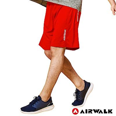 【AIRWALK】男款拼接運動短褲-中紅