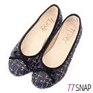 TTSNAP娃娃鞋-MIT全真皮小香風蝴蝶結柔軟Q平底鞋 毛呢藍