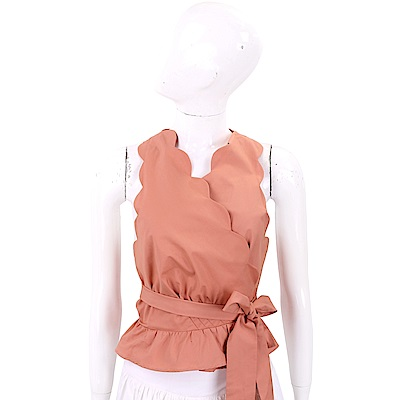 ELISABETTA FRANCHI 鮭魚粉花瓣和服設計綁帶背心