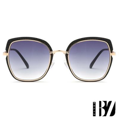 BeLiz 菱紋方框 透視炫色墨鏡 漸層黑