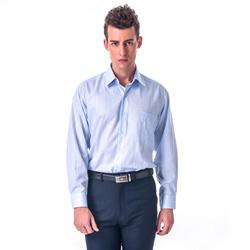 金‧安德森 經典格紋繞領藍色暗紋長袖襯衫