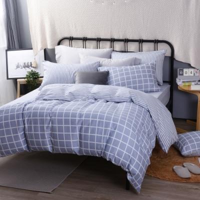 喬曼帝Jumendi 台灣製100%純棉單人三件式床包被套組(經典灰格)