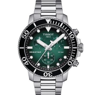 TISSOT 天梭 Seastar 海星300米潛水石英錶(T1204171109101)/46mm
