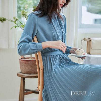 DEER.W 立領綁帶百褶雪紡洋裝(藍)