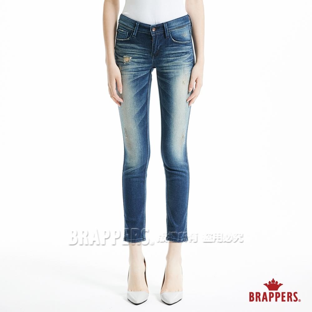 BRAPPERS 女款 新美腳Royal系列-中低腰重刷色彈性窄管褲-藍