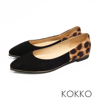 KOKKO -風和日麗麂皮拼接小尖頭平底鞋-精緻黑