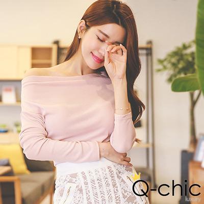 正韓 斜露肩一字領修身上衣 (粉色)-Q-chic