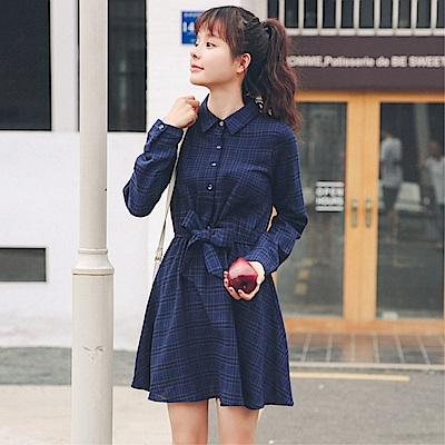 DABI 韓系松緊腰修身顯瘦格子紋棉麻長袖洋裝