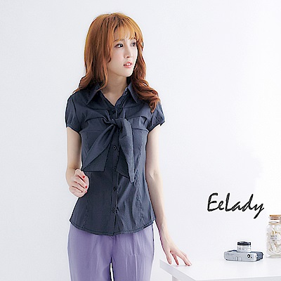 EELADY大尺碼-OL不可拆領巾表面小包袖襯衫