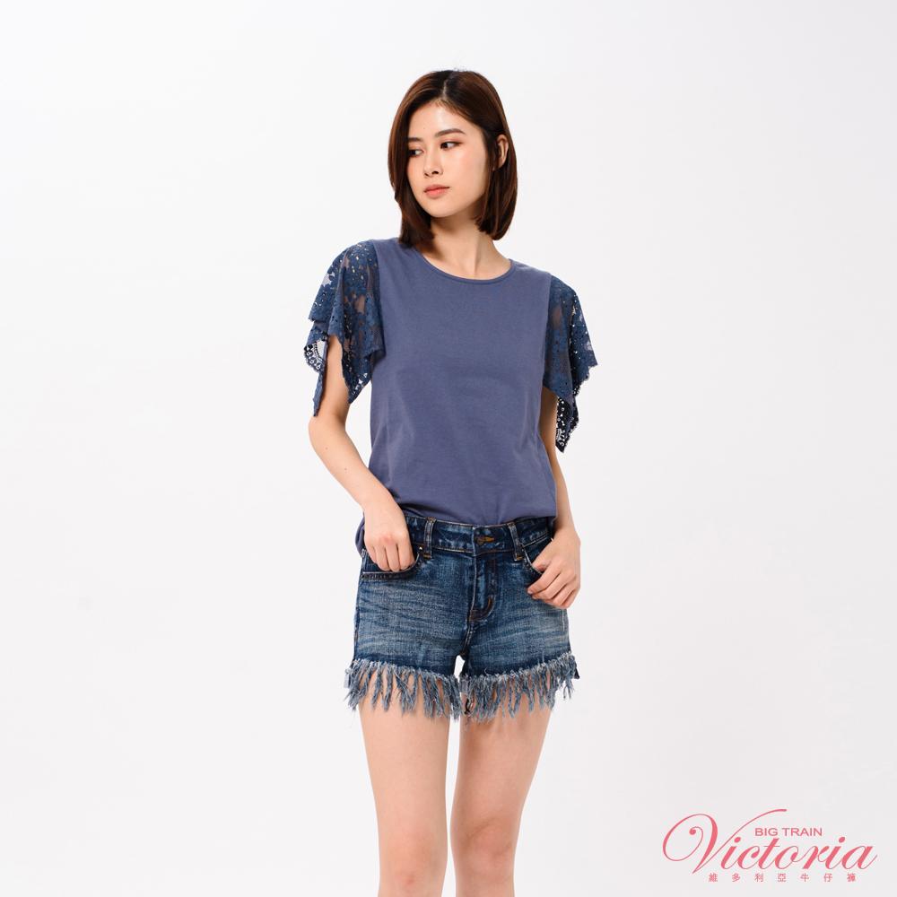 Victoria 袖蕾絲拼接短袖T-女-深藍
