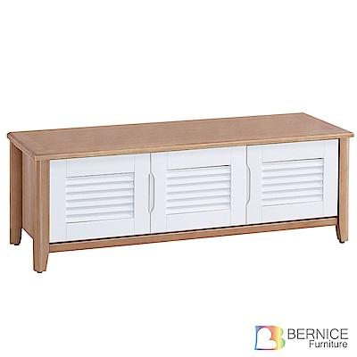 Bernice-艾諾克4尺實木三門百葉座式鞋櫃-120x41x45cm