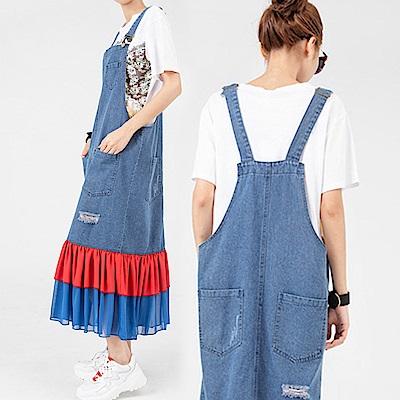 亮彩雪紡接擺牛仔吊帶長裙-(藍色)Andstyle