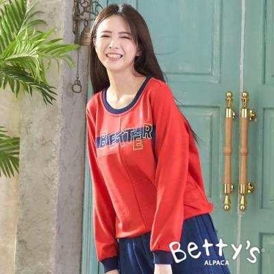 betty's貝蒂思 圓領拼接LOGO繡線大學T-shirt(紅色)