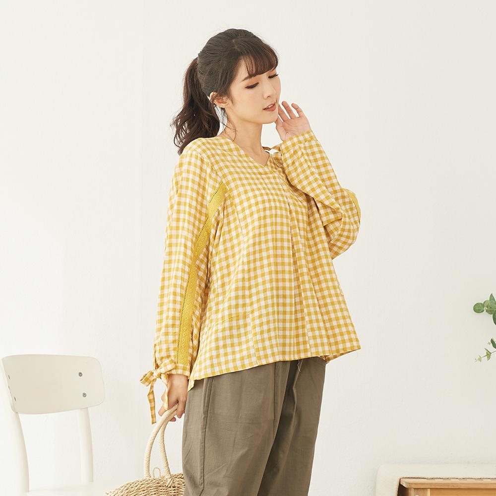 慢 生活 打結袖色織格紋上衣-F 黑/黃