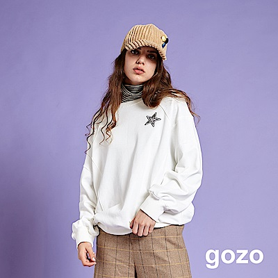 gozo 藍星解構裁片雙面織紋棉T(二色)