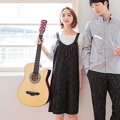 情侶系列~配色直條紋棉麻質感寬鬆吊帶裙-OB大尺碼